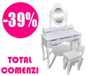 🏷 Masă de toaletă cu oglindă și taburet, 7 sertare, alb 👍