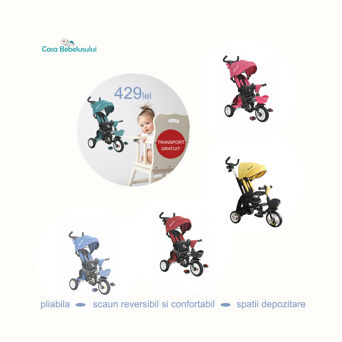 Casabebelusului - Tricicleta Milano 429 lei